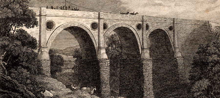 Marple aqueduct spanning the River Goyt
