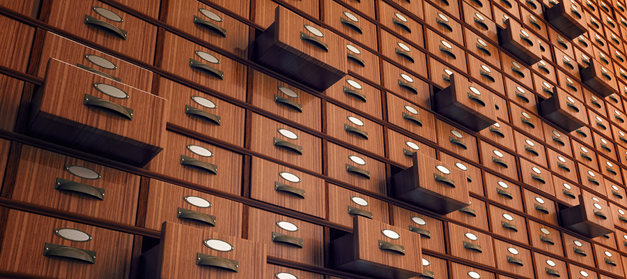 Archive of files in drawers